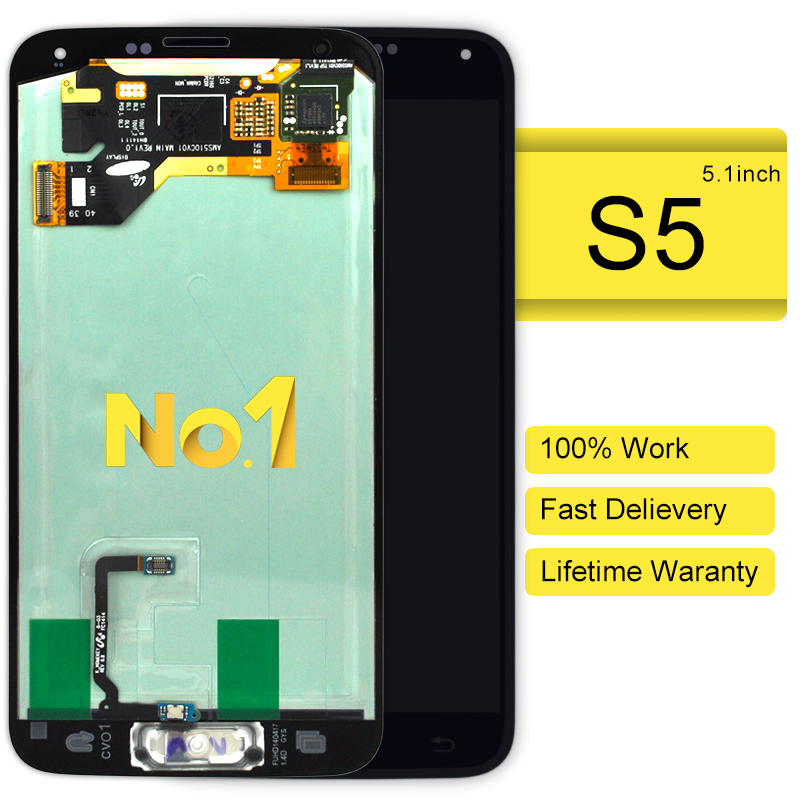 DHL 5pcs original For Samsung i9600 G900 lcd display screen with home button 100% Guarantee Black white
