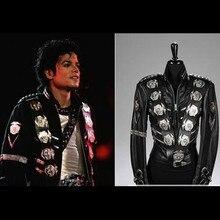 MJ Майкл Джексон BAD куртка с серебряными значки с орлом панк куртка представление коллекции-(все размеры