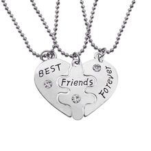 Best Friends Forever Letters Broken Heart Necklace Set Clavicle Chain Engraved BFF Choker Pendants Necklace 3 PC Colar XL0300