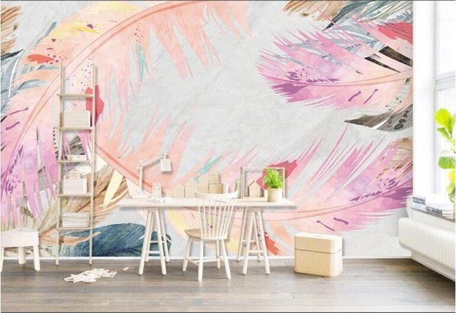 3d European Wallpaper Nordic Modern Minimalist Aesthetic Feather Picture Wall Paper TV Background Kitchen Study Bedroom