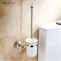 MEIFUJU Luxury European Style Brass Crystal Wall Toilet Brush Holder Gold/Black/Antique/Chrome Ceramic Cup Bathroom Products