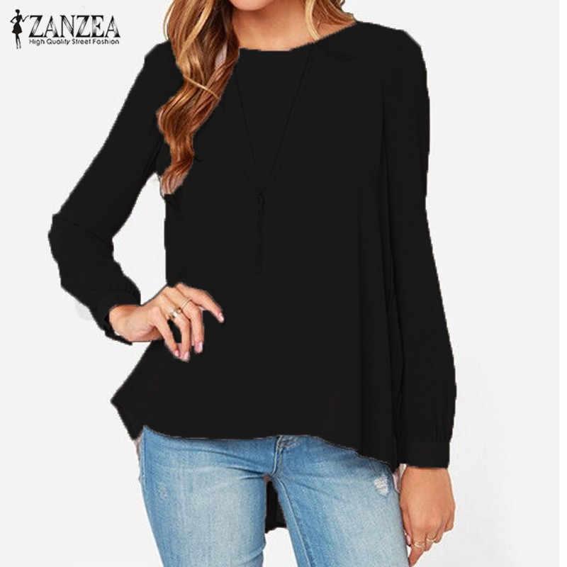 ZANZEA Vrouwen Blouses 2019 Sexy Toevallige Losse Chiffon Tops Lange Mouw Oversized Effen Shirts Herfst Blusas Plus Size
