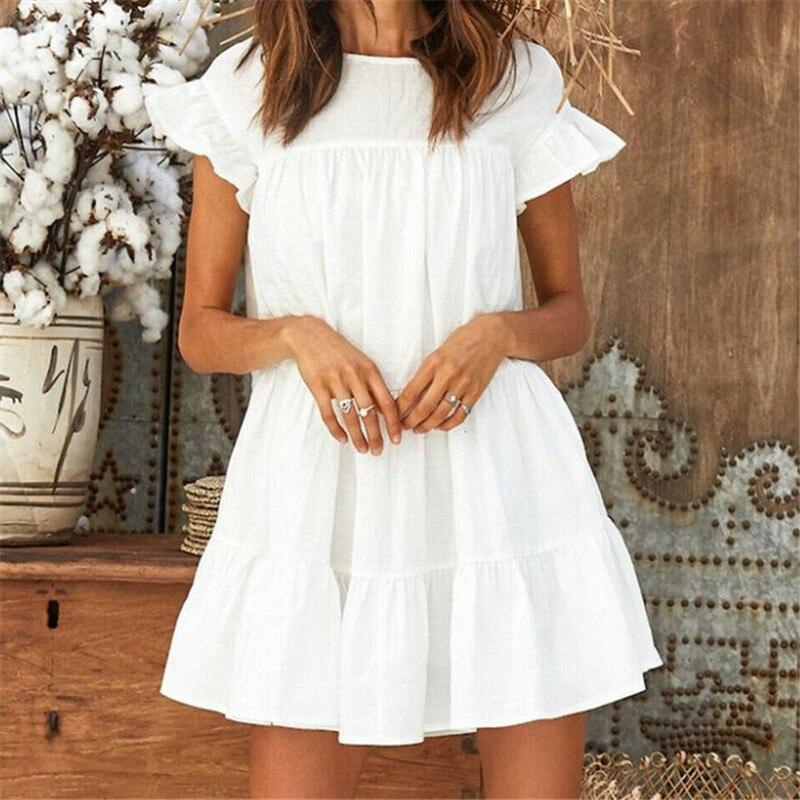 Women Summer Casual Loose Boho Cute Layered Solid Dress Cocktail Party Beach Dresses Sundress Cascading Ruffles White Mini Dress(China)
