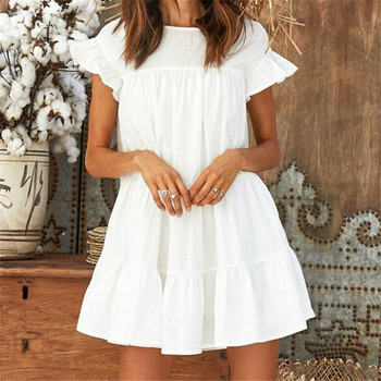Women Summer Casual Loose Boho Cute Layered Solid Dress Cocktail Party Beach Dresses Sundress Cascading Ruffles White Mini Dress layered flounce trim dress