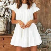 Women Summer Casual Loose Boho Cute Layered Solid Dress Cocktail Party Beach Dresses Sundress Cascading Ruffles White Mini Dress