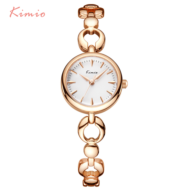 KIMIO Brand Ladies Dress Watches Luxury Stainless Steel Quartz Watch Hollow Love