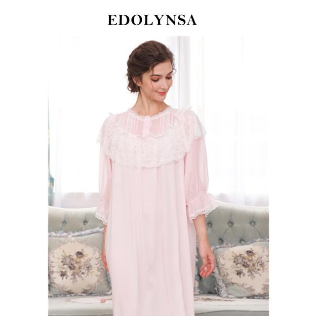 ac29791ecb Autumn Winter Sleepwear Women Nightgowns Long Nightdress Plus Size Slash  White Lace Flare Sleeve Cotton Robe Dress Ladies H715