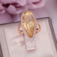 Fine Jewelry 100% 925 Silver Rings for Women Natural Citrine Gemstone Sterling Water Drop Luxury Yellow 18K Gold Ring CCRI041