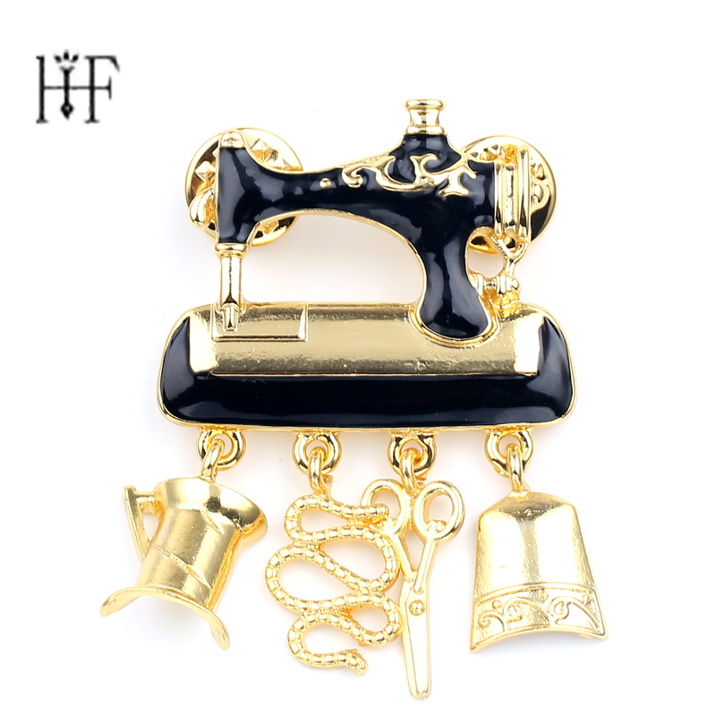 US $1 4 30% OFF|Inspiration Source Life Sewing Machine Brooches for Women  Fashion Jewelry Black Enamel lapel pin Women Gold Color Scissors Pins-in