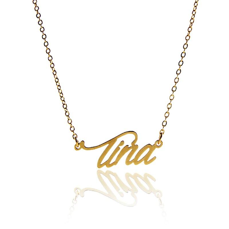 45367fbcb5c8b AOLOSHOW Mulheres Letras Colar de Nome Tina Colar de Pingente de Presente  Gold   Cor Prata Placa de Identificação Colar Inicial, NL-2417