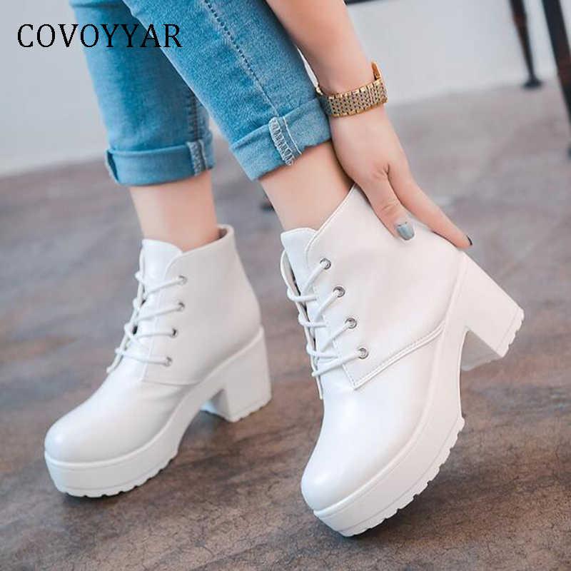 COVOYYAR 2019 Platform Kışlık Botlar Punk Kadınlar Sonbahar Kalın Topuk PU Deri yarım çizmeler Kadınlar Için Siyah/beyaz ayakkabı WBS233