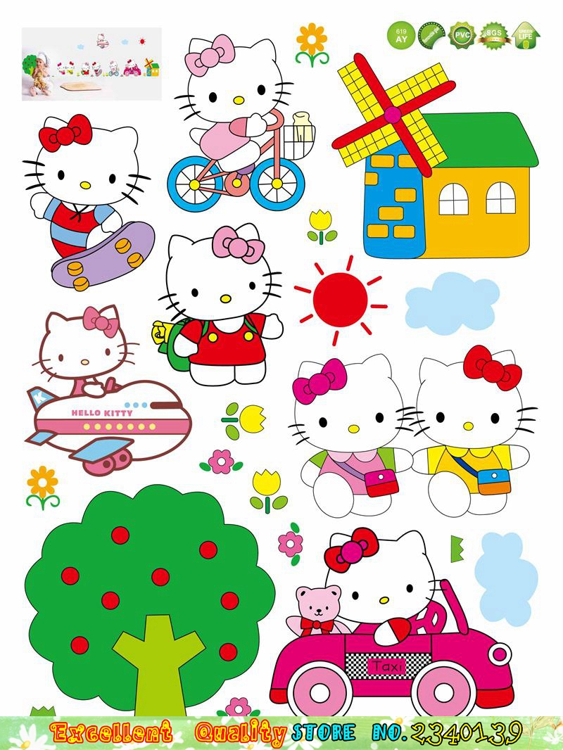 Hello kitty bedroom wall stickers -  Hot Pink Hello Kitty Cat Wall Stickers Baby Girls Room Decoration Wall Decals Waterproof Vinyl Wall