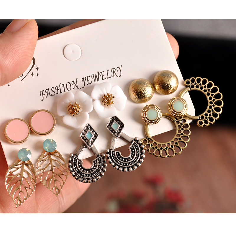 New Fashion Women's Jewelry Wholesale Girls Birthday Party Pink Ear Studs Set Mashup 6 Pairs /set Earrings Free Shipping