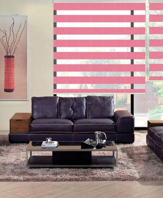 goedkope gordijn 100 polyester zebra jaloezien in roze doorschijnende gordijnen voor woonkamer 30 kleuren zijn