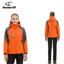 LXIAO Winter Jacket Women 2 Pieces Softshell Jacket Women Outdoor Waterproof Jacket Thick Fleece Jackets Hiking Female Coats 2017 men waterproof windproof anti uv fishing ski hiking coats spring winter outdoor tech fleece softshell two pieces jacket