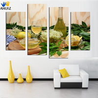 Sin Marco 3 Paneles Moderno Fruta limón té de la flor Pintura Al Óleo Sobre Lienzo Cuadros restaurante dormitorio Decoración Arte foto F18855