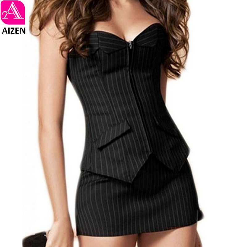 4f1ba189e8f AIZEN Bustier Corset Skirt Dress Sexy Black Pinstripe Corselet Overbust  Office Lady Lace Up Costume Plus Sizs Zip Corsets Mini