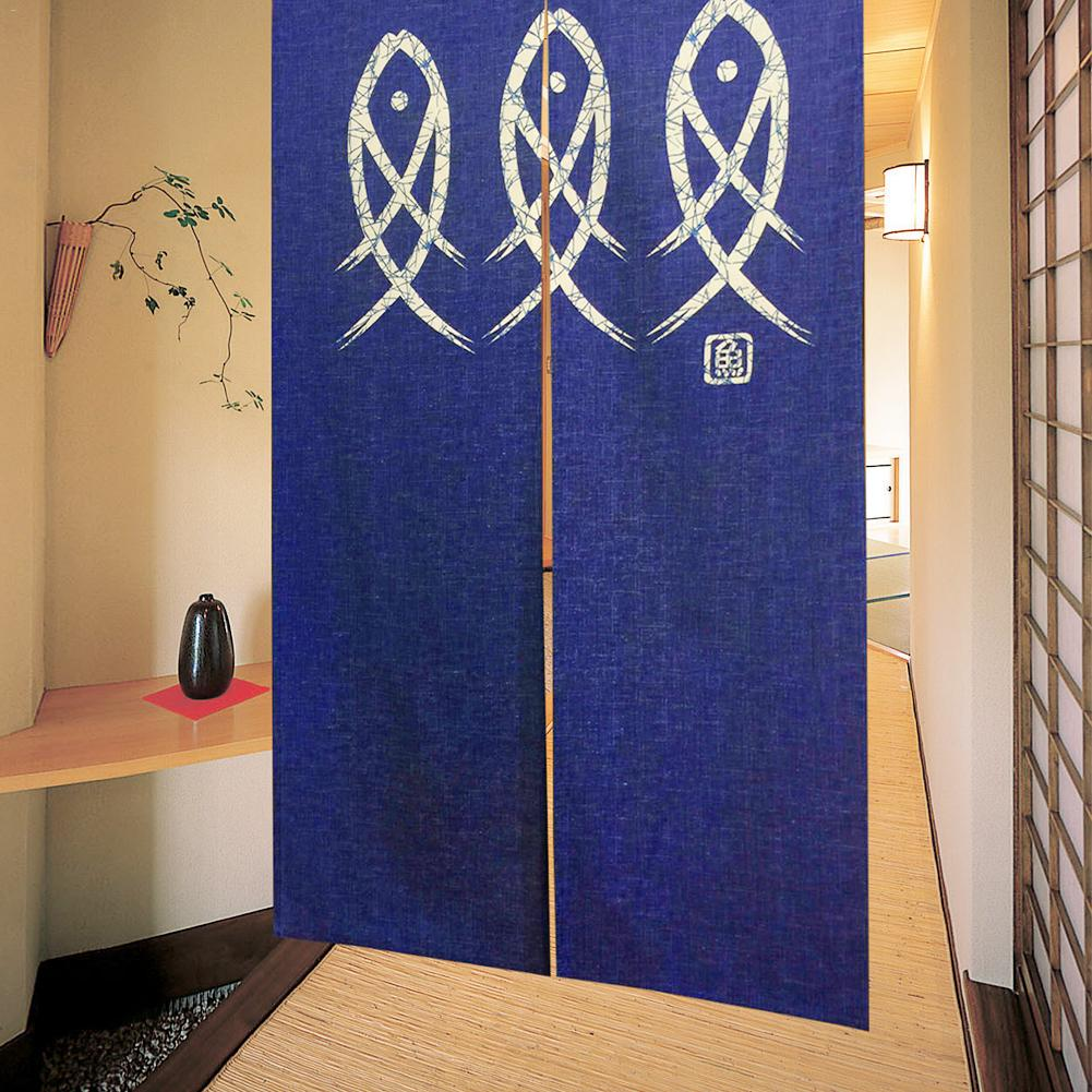 85*150 Cm/33.46*59.06 Inch Geomantic Omen Hanging Curtain Japanese Style Doorway One-piece Curtain Three Fishes Rideaux