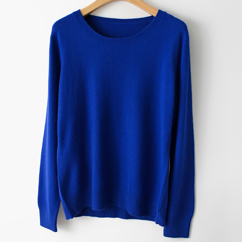 Spring Winter O-neck Cashmere Wool Sweater JECH Autumn Women Solid Big Long Sleeve Pullovers Jumper Knitted Sweaters Plus Size