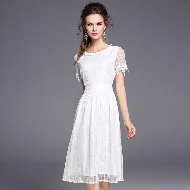 2017 летние случайные дамы платья партии с коротким рукавом линии сетки кружева элегантный ruffle dress bodycon белый midi dress for women