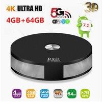 R10 4GB RAM 64GB ROM Smart Android 7.1 TV Box RK3328 Quad Core 2.4G&5G Wifi 1000M LAN BT 4.1 4K VP9 H.265 HDR10 4K Media Playe