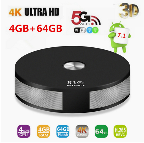 лучшая цена R10 4GB RAM 64GB ROM Smart Android 7.1 TV Box RK3328 Quad Core 2.4G&5G Wifi 1000M LAN BT 4.1 4K VP9 H.265 HDR10 4K Media Playe