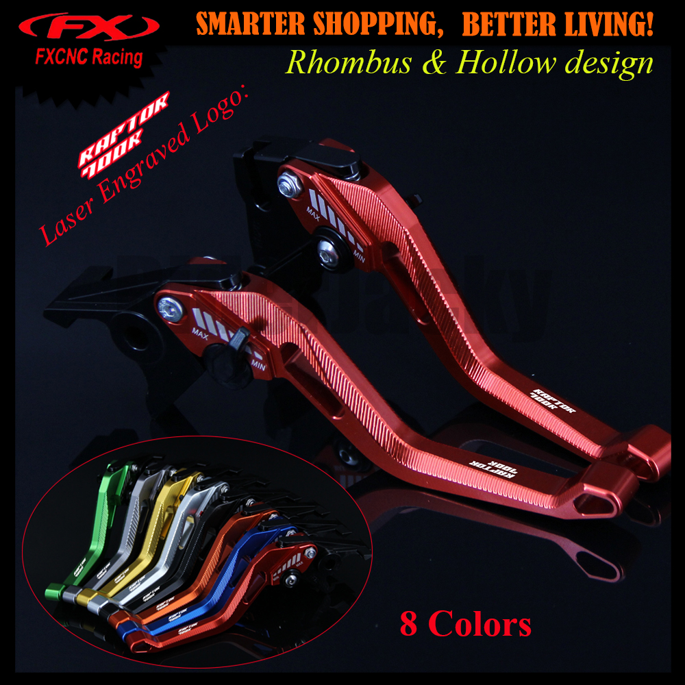 3D Design Rhombus Hollow Red CNC Motorcycle Adjustable Brake Clutch Lever For Yamaha YFM700 Raptor 700R