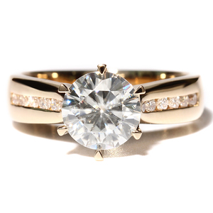 Image 4 - TransGems 2 Carat Lab Grown Moissanite Diamond Solitaire Wedding Ring  moissanite Accents Solid 14K Yellow Gold Band for Women