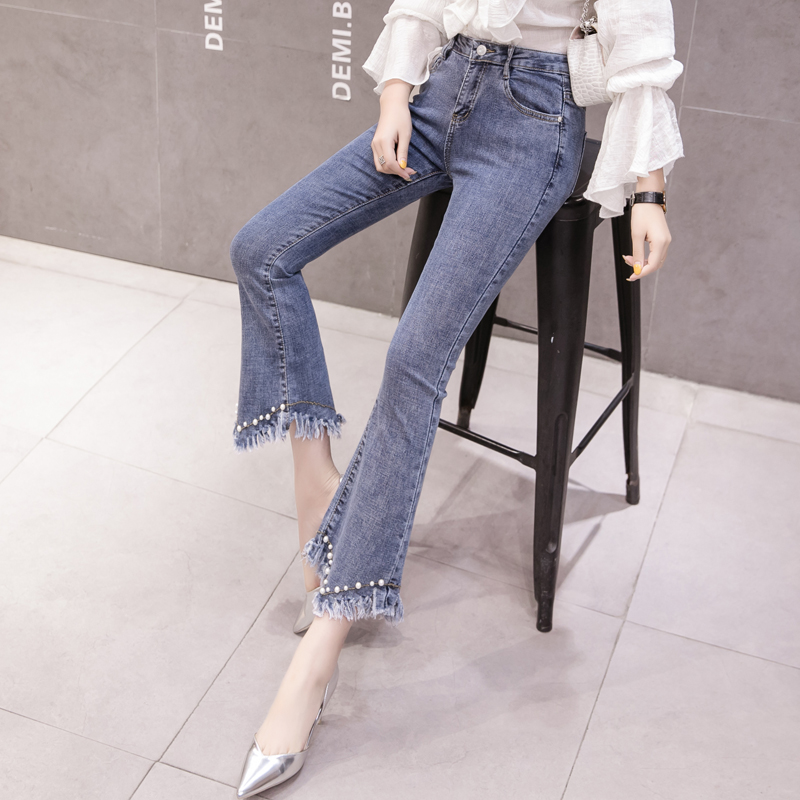 High Waist Women Jeans Flare Pants Tessal Bead Slim Fashion Pants High Waist High Elastic Ankle-Length Denim Trousers 3
