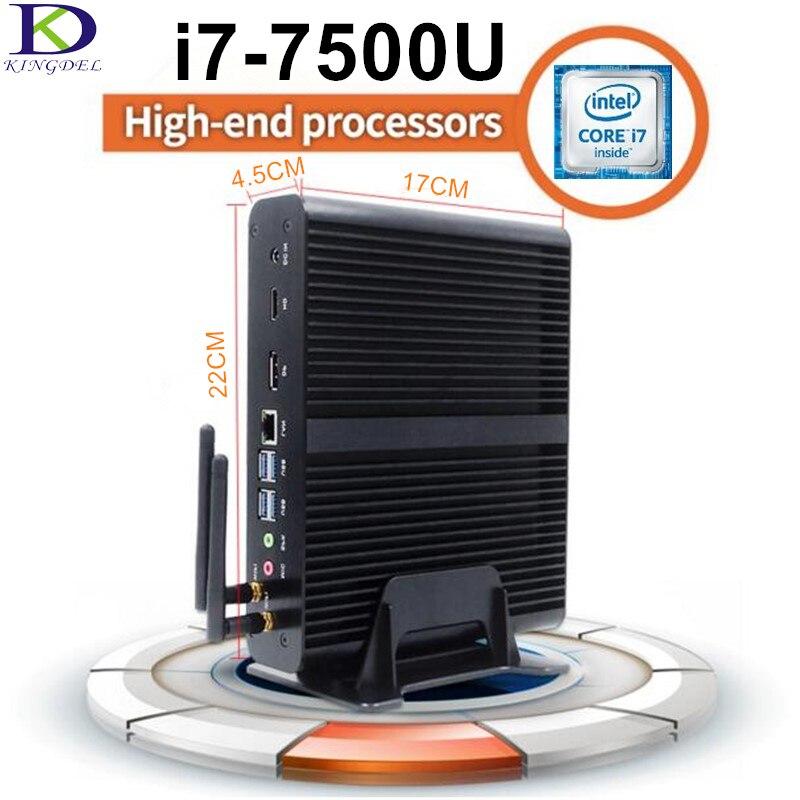 Intel DDR4L 7th Gen Core i7 7500U Kaby Lake Fanless Mini PC,Intel HD Graphics620,4K HTPC,Max 16G RAM 512GB SSD,Windows10,Linux