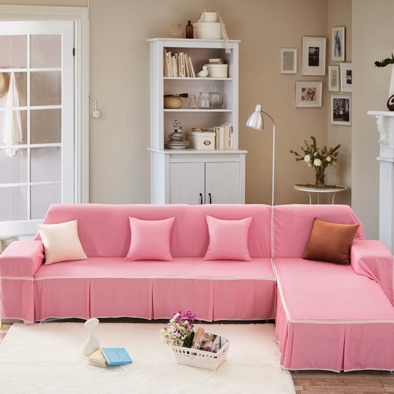 SunnyRain Pink Sofa Cover Sectional Sofa Covers For L shaped Sofa ...
