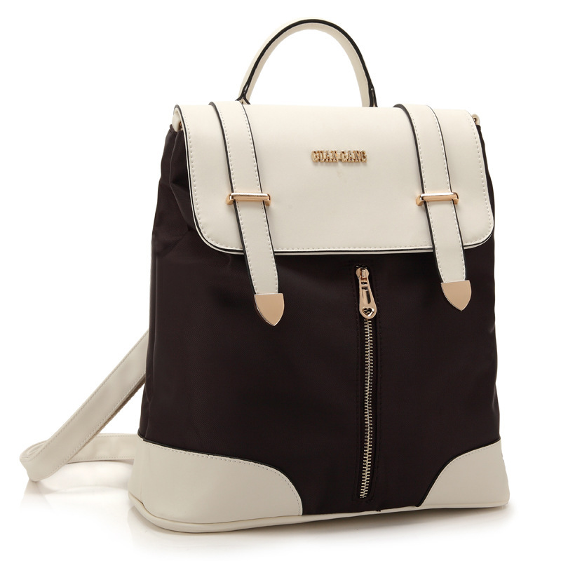 ФОТО Women Nylon Backpacks Leather Cover Handle Students Korean Version College Retro Style school bags for teenage girls Mochilas