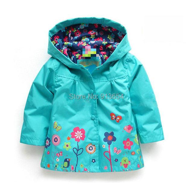 Envío gratis, la venta del nuevo 2014 ropa de bebé primavera niña abrigo de otoño de impresión chaqueta cortaviento kids trench bebé prendas de vestir exteriores