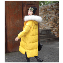 High-end luxury autumn and winter new thickening Womens down jacket long loose thin large fur collar clothing