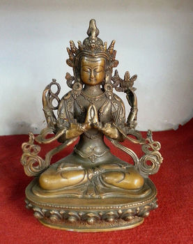 21 cm * / The collection!Old Chinese antiques dynasty copper figure of Buddha