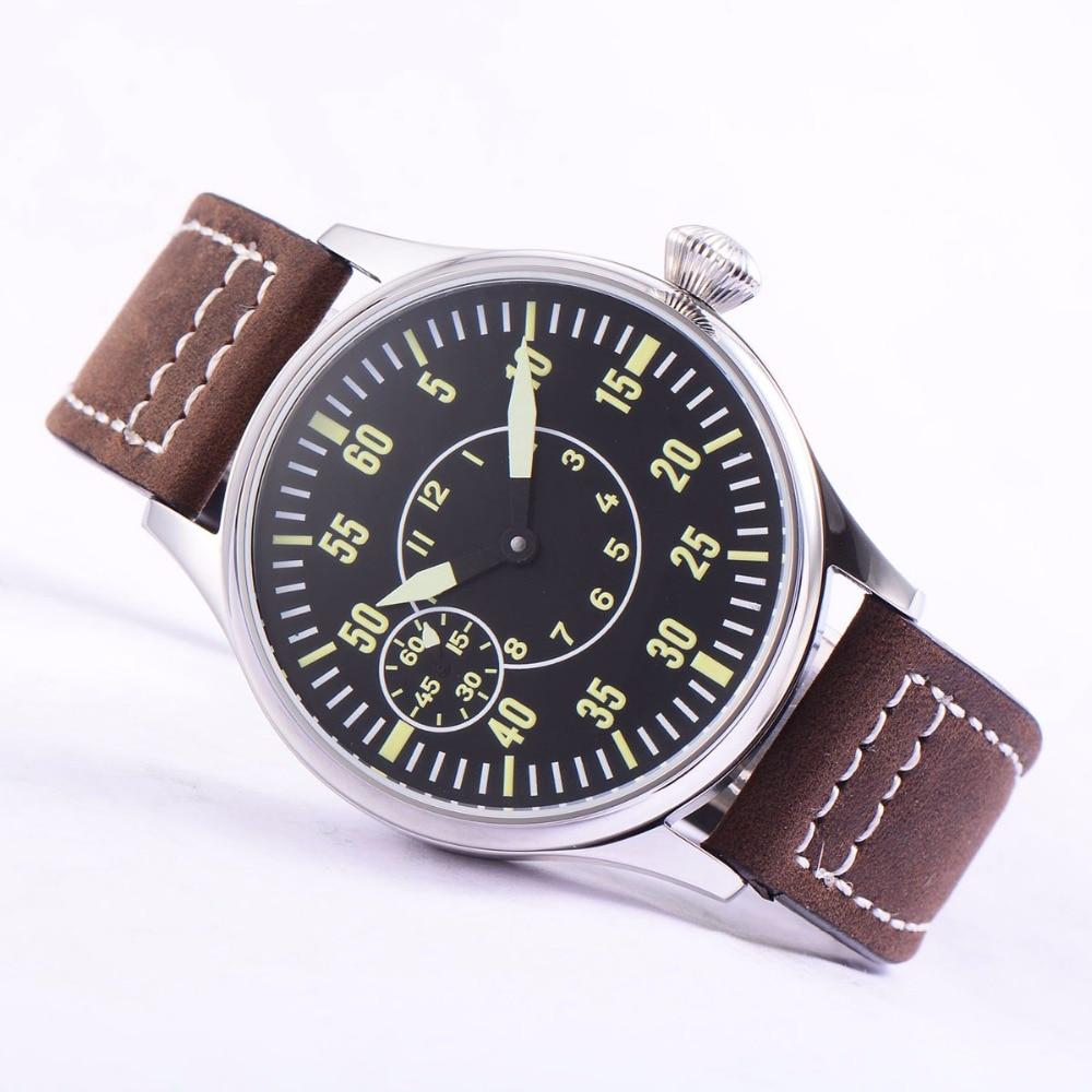 Image 2 - Sterile 44mm Luminous 6497 Hand Winding ST3600 Movement Manual  Machinery Watch men Sapphire Glass 316L SS mechanical  wristwatcheMechanical Watches