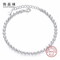 Shipinwei Authentic Real 925 Sterling Silver Tennis Bracelet Bangle With CZ For Women Snake Chain Bracelets