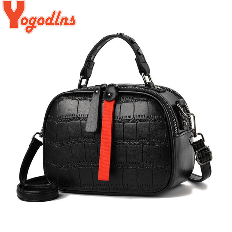 Yogodlns Leisure PU Leather Messenger Women Bag Ladies Shoulder Bags Contrast Color Zipper Lattice Crossbody Bags Rivet Handbags