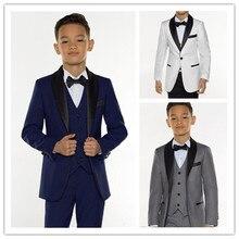 Смокинг для мальчиков, праздничный костюм-тройка для мальчиков, черный деловой костюм с отложным воротником, смокинг для детей, смокинг