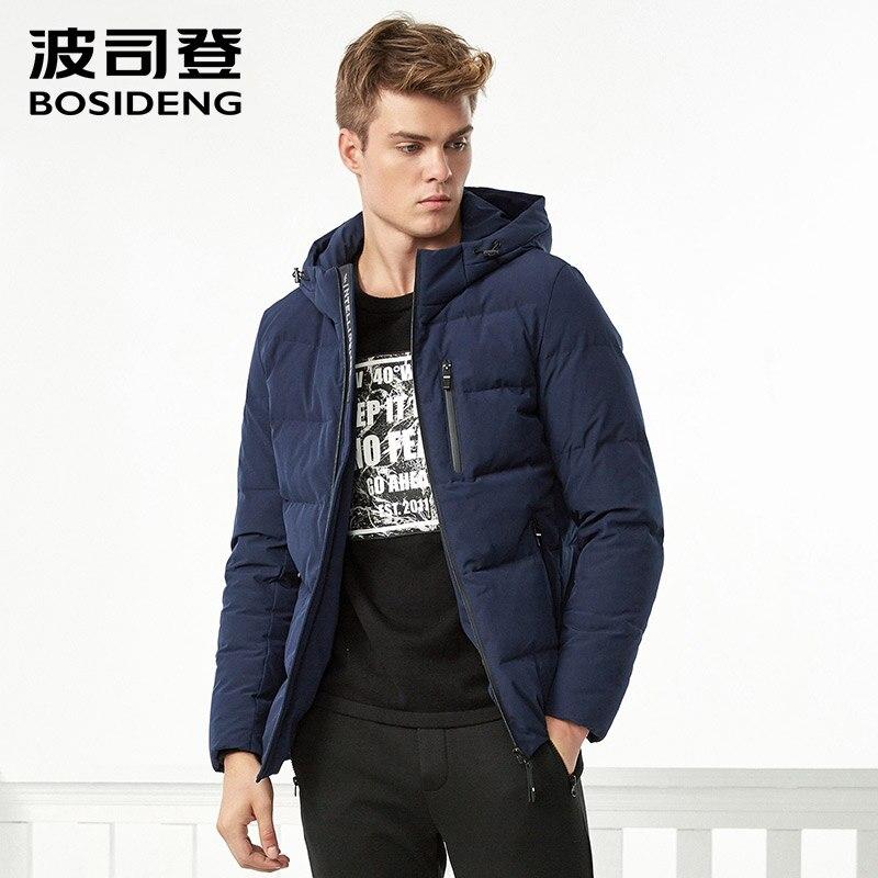 BOSIDENG новая пуховая куртка для мужчин пуховик с капюшоном зимой толстые короткие Регулярный пиджаки карман на молнии высокого качества ...
