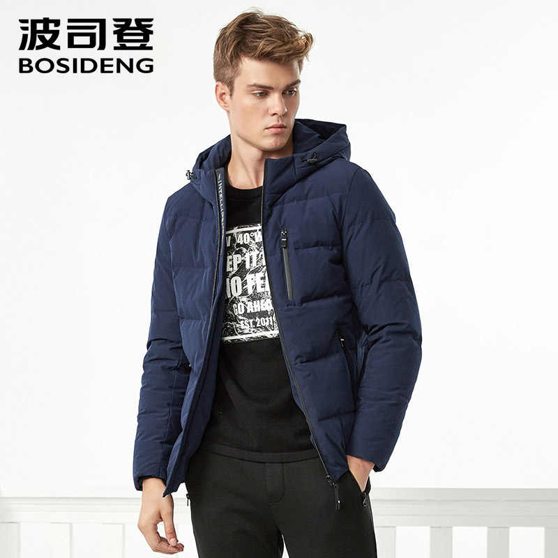 e90da217e67d6 BOSIDENG Новый пуховик для мужчин пуховое пальто с капюшоном зимние толстые  короткие регулярные верхняя одежда карман