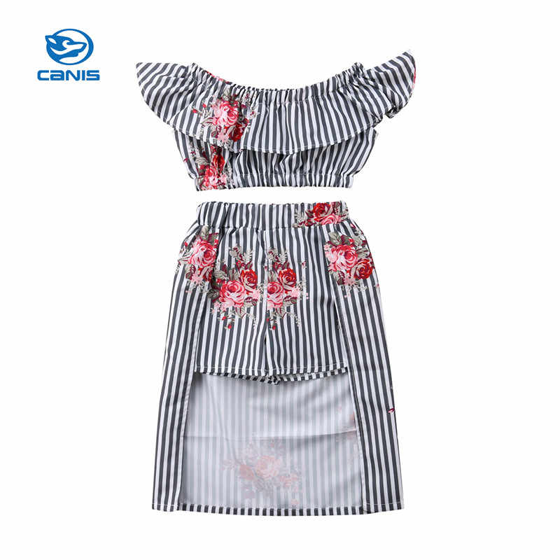 8c5be4e446e1 Stylish Summer Girls Flower Clothes Set Fashion Baby Girls Ruffles Blouse  Tops+Long Skirts With