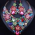Exquisite 3D flores exagerado de cristal strass colar brincos definir conjuntos de jóias de noiva Africano