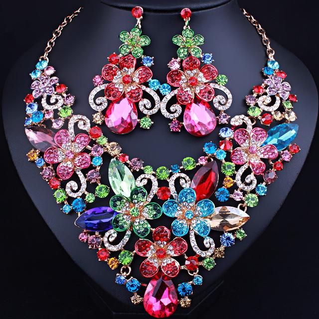 Exquisito 3D flores de cristal exagerada piedras pendientes del collar Africano sistemas de la joyería nupcial