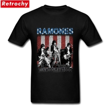 Handsome Vintage Hey Ho Let's Go Tee Men's Short Sleeve 100% Cotton Retro Ramones UK Band Authentic Male Mens Concert T Shirt(China)
