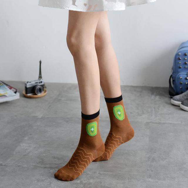4 Pairs Fruits Patterns Cotton Socks
