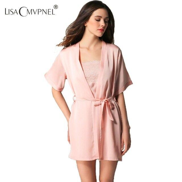 Lisacmvpnel Spring Rayon Women Half-Sleeve Robe Set Female Sexy Lace  Sleepwear Nightgown+Robe 43f881385