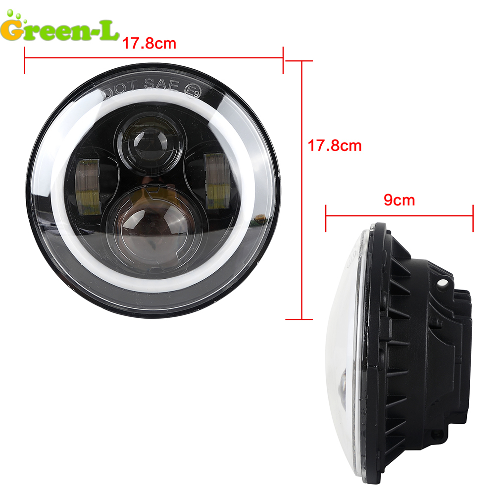 2pcs/lot 7 90W Angel Eyes Headlight For Jeep Wrangler JK TJ H4 Hi/lo Beam Led Headlight Motorcycle Daymaker 12V 24V 4 Colors pair for 7 inch round headlight 12v 24v dc high low beam and angel eye led for jeep wrangler jk tj harley davidson motorcycle