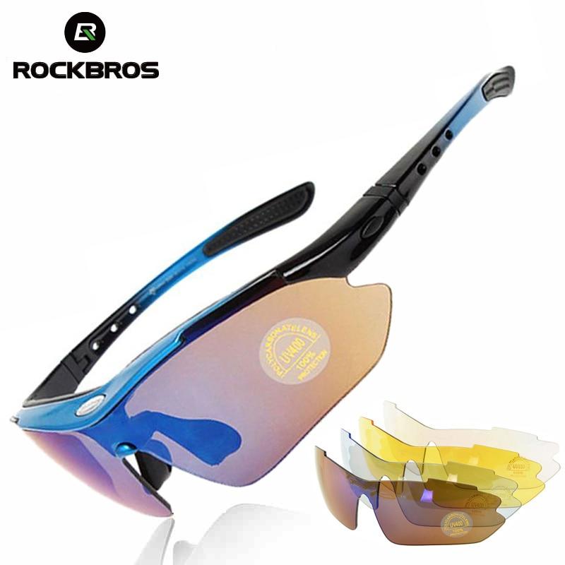ROCKBROS los ciclismo gafas polarizadas hombres deportes de bicicletas gafas de sol UV400 de carretera MTB bicicleta gafas de protección 5 lente