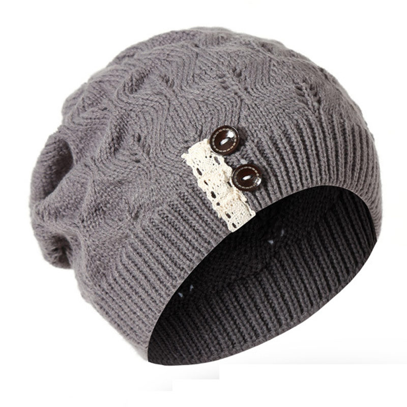 Winter Women's Lace Patch Vintage   Skullies     Beanies   Warm Knitted Hats with Buttons,Gray Navy Beige Red Black